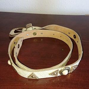 Vintage Western USA leather belt embellished white